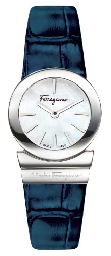 Ferragamo Women's F70SBQ9991 SB04 Gancino Mother-of-Pearl Dial Sapphire Crystal Blue Leather Watch