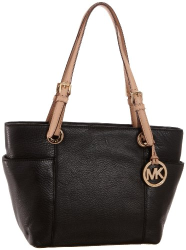 Michael Kors Black Leather Jet Set Item MD Zip Top Tote Shoulder Bag Handbag Purse