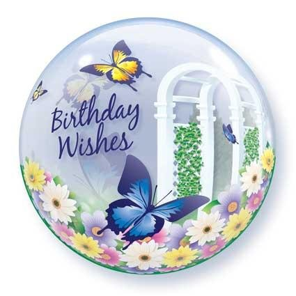 "22"" Birthday Wishes Butterflies Bubble Balloon"