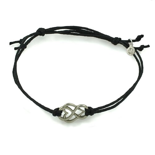 White Bronze Let Love Out Mini-Heart Corded Bracelet (Black)