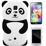 Semoss 2 in 1 Teléfono Accesorios - Lovely Panda Silicona Funda Carcasa Case Cover con protector de la pantalla Para Samsung Galaxy S5 Negro