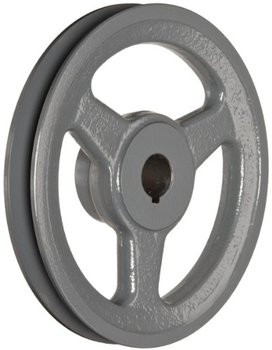 "TB Woods AK6134 Cast Iron FHP Bored-to-size V-Belt Sheave, 1 Groove for A-Section Belts, 0.75"" Face Width, 5.95"" OD, 5.58"" ID, Type None Bushing, Arms Construction"
