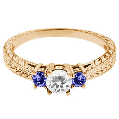0.57 Ct Round White Topaz Blue Tanzanite 18K Yellow Gold 3-Stone Ring