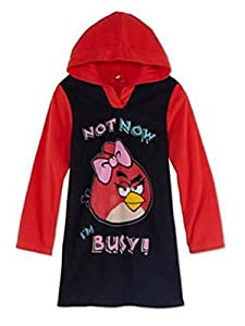 Girls Red Fleece Angry Birds Nighgown I'm Busy Nightshirt