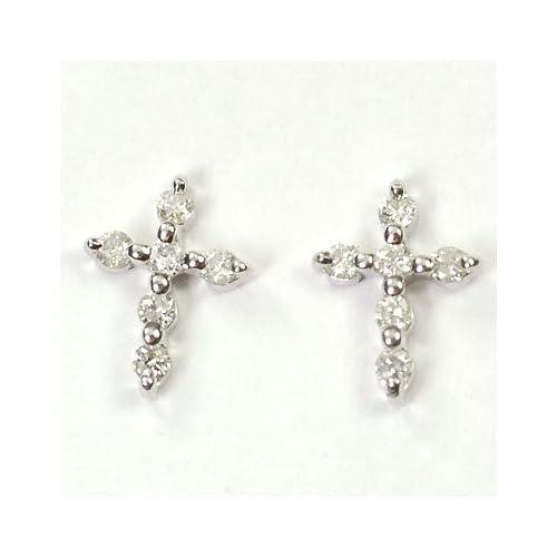 [キュートジュエリー]Cute jewerly ダイヤモンドピアス K18WG ダイヤ0.14ct クロスピアス