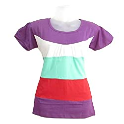 revin purple with multicolour round neck tshirt