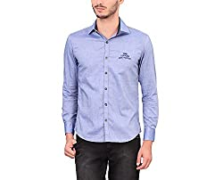 A La Mode Men's Indigo Blue Oxford Chambray Sports Cotton Shirt