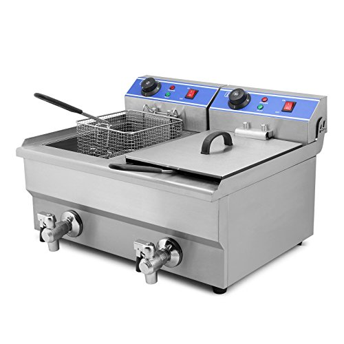 FoodKing Deep Fryer Electric Commercial 3000W 20L Electric Dual Tank Countertop Commercial Grade Stainless Steel French Fry (20L Dual Tank 3000W) (Built In Fryer compare prices)