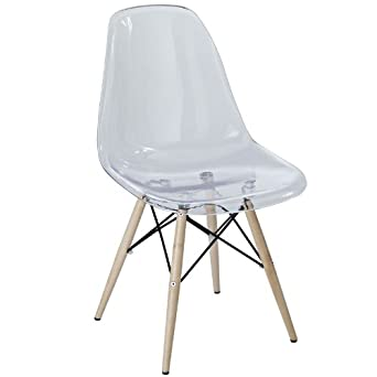 East End Imports Wood Pyramid Side Chair in Clear