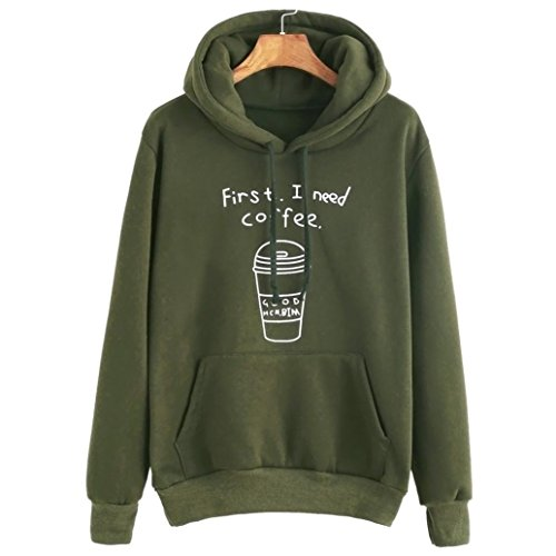 Vovotrade Women long Sleeve Letter Print Hooded Sweatshirt Pullovers (S, Army Green)