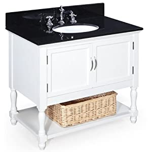 Beverly 36 Inch Bathroom Vanity Black White Includes A White Solid Wood Ca
