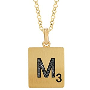 Gold Plated Sterling Silver .07 CTW Black Diamond Letter