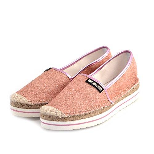 espadrillas donna Love Moschino JA10113 tessuto glitterato rosa gomma e rafia 39