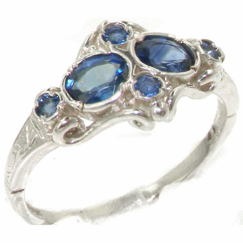 925 Sterling Silver Natural Sapphire Women's Cluster Ring