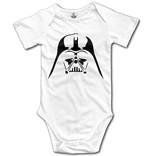 [Darth Vader In Crew Neck Newborn Baby Boys Triangle Romper Natural Cotton] (Real Fx Masks)