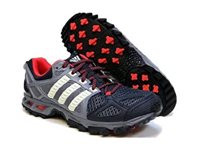 New Adidas Men's Kanadia TR 6 Running Shoes Grey/Hi-Res Red 14