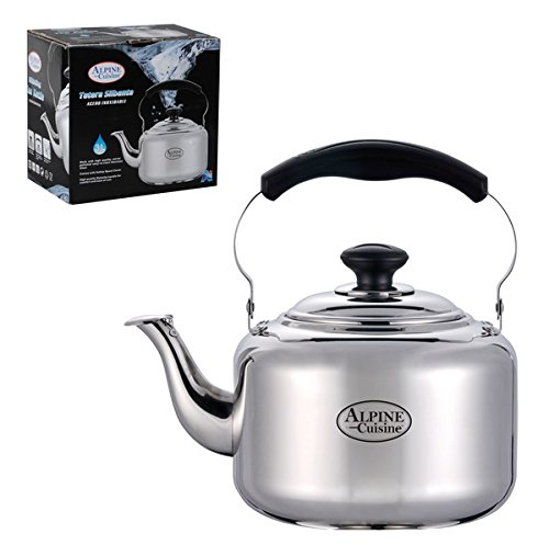 Tea pot newness polished stainless steel teapot with lid for Alpine cuisine tea kettle