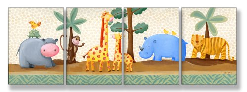 The Kids Room by Stupell Hippo, Giraffe, Thino, and Tiger in the Jungle 4-Pc. Rectangle Wall Plaque Set