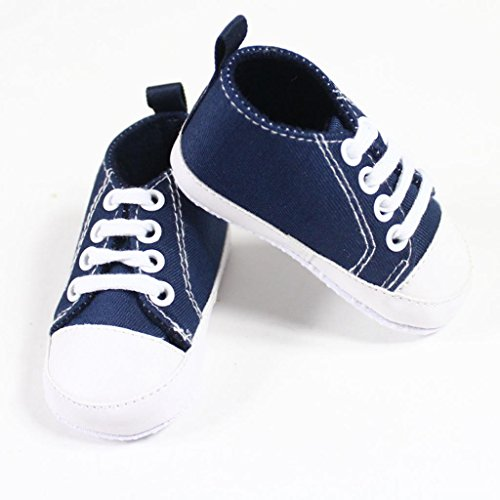 Fashionwu Infant Toddler Baby Boy Girl Soft Sole Crib Shoes Sneaker Deep Blue 9-12 Months front-39356
