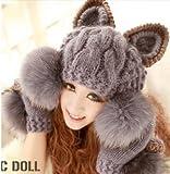 ボンボン ファー付 猫耳 ニット 帽子 ねこみみ 手編み風 グレイ ポンポン