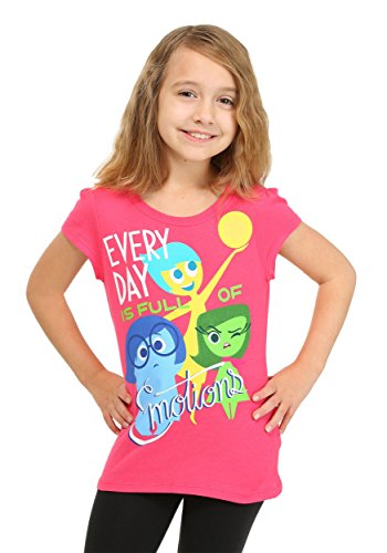 Disney Little Girls' Short Sleeve Every Day Is Full Of Emotions Tee Shirt, Pink, 4