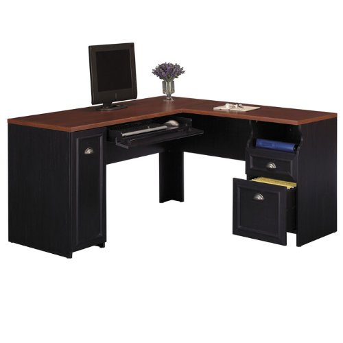 Bush Furniture Fairview L-Shaped Wood Computer Desk in Black
