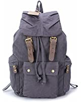 sulandy@ Multi-Function Vintage Canvas Leather Hiking Travel Military Backpack Messenger Tote Bag for women and men khaki green