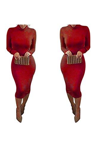 Dora Bridal Women's Turtleneck Long Sleeve Slim Bodycon Tight Dress Red,Small