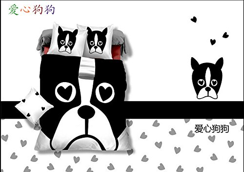 Queen Size 100% Cotton 4-Pieces 3D Big White And Black Character Cartoon Dog Head Prints Duvet Cover Set/Bed Linens/Bed Sheet Sets/Bedclothes/Bedding Sets/Bed Sets/Bed Covers/5-Pieces Comforter Sets (5) front-970534