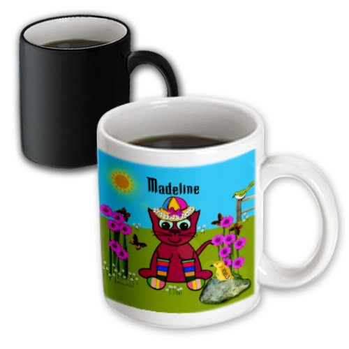 Mug_49955_3 Smudgeart Female Child Name Designs - Madeline - Decorative Smudgeart Art Design - Cat In Rainbow Socks - Mugs - 11Oz Magic Transforming Mug