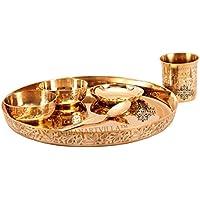 IndianArtVilla Bronze Kansya Utensil| 6 Piece Embossed Designer Dinner Thali Set|1 Dinner Plate 2 Bowl 1 Rice...