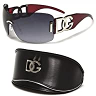 DG Eyewear Black Oversized Rimless Sunglasses and Oversized Case