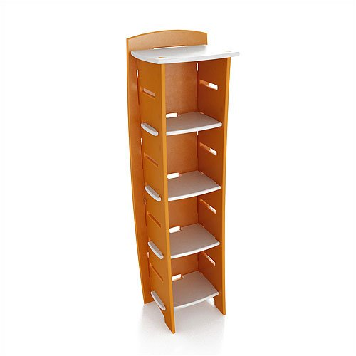 "Legare Furniture Select Kids Series 59"" Tall Bookcase in Orange / White"