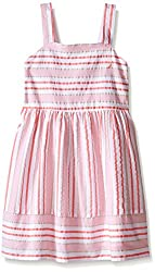 Nautica Girls' Multi Stripe Seersucker Dress, Soft Coral, 4T