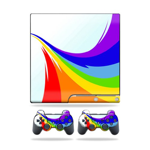 Mightyskins Protective Vinyl Skin Decal Cover for Sony Playstation 3 PS3 Slim skins + 2 Controller skins Sticker Rainbow Flood