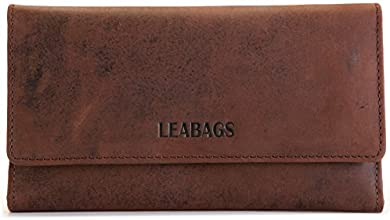 LEABAGS CLEVELAND Exclusive Genuine Leather Vintage Style Long Clutch Purse Card Holder Zipper Pocket Womens Wallet - Muskat