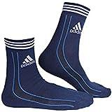 Adidas Men's AD-416 Half Cushion Quarter Socks, Grey/White/Blue (Pack Of 3)