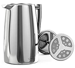 LeMeilleur French Press Coffee Maker - Double Wall Double Screen - Quality Anti Rust Stainless Steel - 1 Liter from LeMeilleur