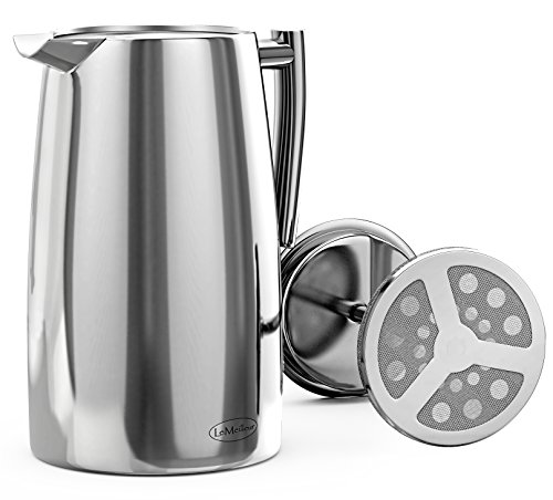 LeMeilleur-French-Press-Coffee-Maker-Shatterproof-Quality-Anti-Rust-1810-Stainless-Steel-Coffee-Press-Double-Wall-Double-Screen-34oz-1L