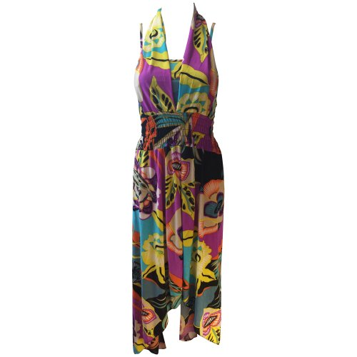 Marc Gold Women'S Bright Multicolor Island Floral Dress (Large)