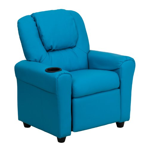 Flash Furniture DG-ULT-KID-TURQ-GG Contemporary Turquoise Vinyl Kids Recliner with Cup Holder and Headrest, Green