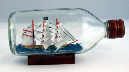 Pirate Ship in Bottle Nautical Maritime Boat Decor New