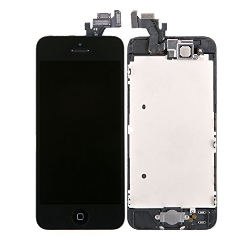 Black Lcd Display + Touch Screen Glass Digitizer Complete Assembly For Iphone 5 With Spare Parts (Home Button & Front Camera & Proximity Cable Sensor & Water Sticker) Us Cellular Parts