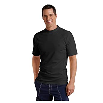 Coolibar UPF 50+ Men's Short-Sleeve Swim Shirt (Black - Small)