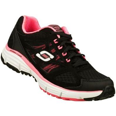 Skechers Women's Alignment Full Effect Lace Up Sneaker Black Pink 6 M US