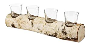 Birch Décor by Pavilion Quadruple Candle Holder, 12-1/2-Inch Long, Tea Light Candles Not Included