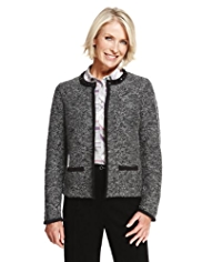 Classic Bead Embellished Bouclé Knitted Jacket with Wool