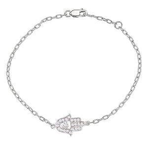 Unique 14k White gold diamonds HAMSA-HAND OF GOD bracelet