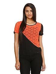 Mayra Women's Net Top (1604T09355_S, Black & Orange,)