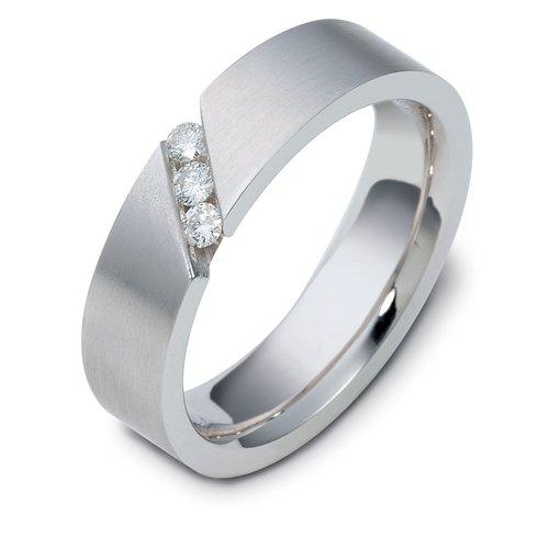 Sterling Silver, Diagonal 6MM Wedding Band, 1/6 cttw (sz 9.5)